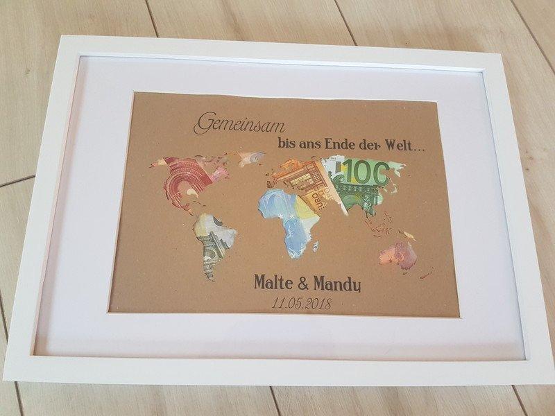 Geldgeschenk Hochzeit Weltkarte Inkl Rahmen Vintageladchen