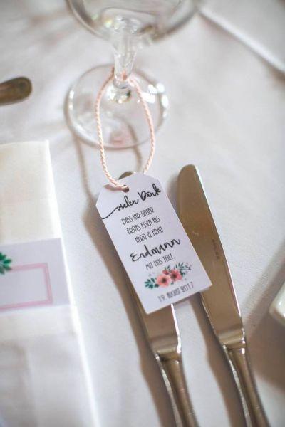 """personalisierte Anhänger """"Vielen Dank"""" Hochzeit / Besteckhanhänger"""