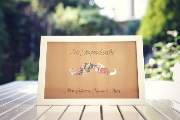 "Geldgeschenk Jugendweihe ""Mustache"" inkl. Rahmen"