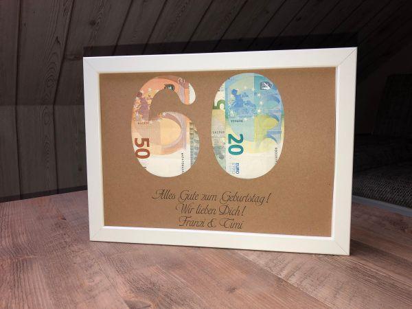 """Geldgeschenk Geburtstag """"Weltkarte"""" inkl. Rahmen"""