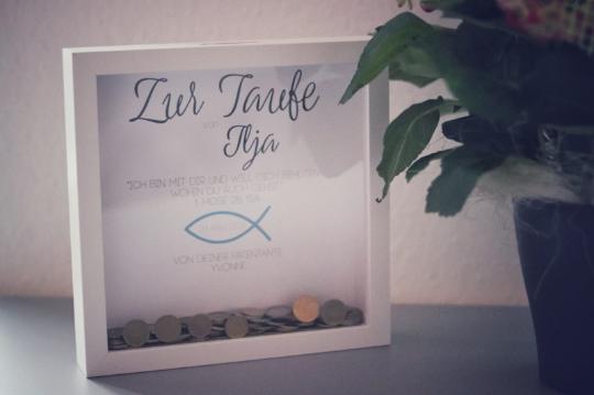 """Geldgeschenk """"Taufe"""" mit Öffnung für Geld oder liebe Wünsche (Maße 23x23 cm)"""