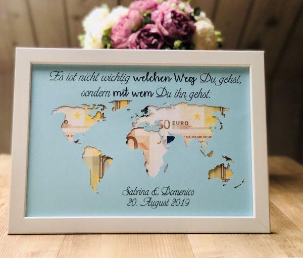"""Geldgeschenk Hochzeit """"Weltkarte"""" ohne Rahmen"""