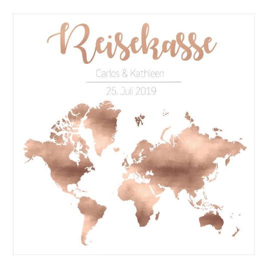"""Geldgeschenk """"Rosegold"""" mit Öffnung für Geld oder liebe Wünsche (Maße 23x23 cm)"""