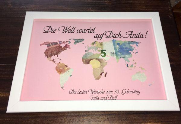 """Geldgeschenk Geburtstag """"Weltkarte"""" ohne Rahmen"""