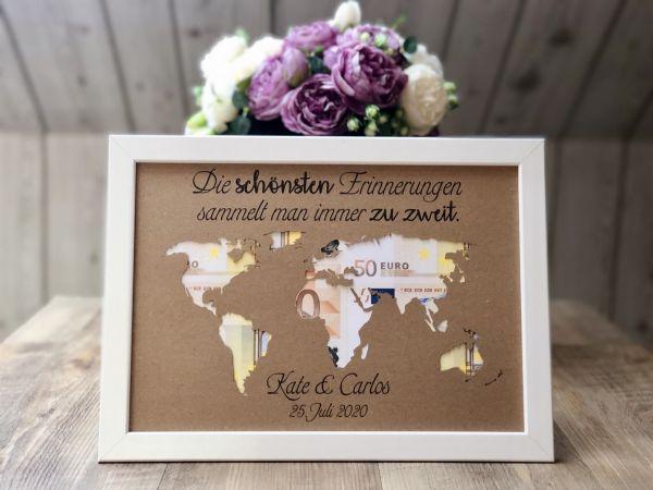 """Geldgeschenk Hochzeit """"Weltkarte"""" inkl. Rahmen"""